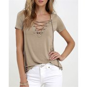 abf2527aa66e2 Fashion Womens Loose Pullover T Shirt Short Sleeve Cotton Tops Shirt Blouse  White S