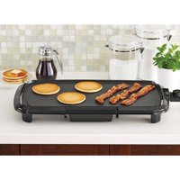 "Mainstays Dishwasher-Safe Black 20"" Griddle with Adjustable Temperature Control"