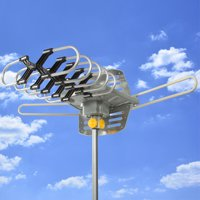 Best Choice Products HDTV Motorized Remote Outdoor Amplified Antenna 360° UHF/VHF/FM HD TV 150 Miles