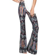 6ba6b52841f8cb Fashion Womens Summer Boho Floral Pants Bell Bottoms Casual High Waist  Flared Wide Leg Long Trousers