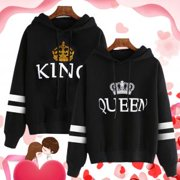 0c541bc9843 Fancyleo Matching Couple King and Queen His and Her Hooded Sweatshirt  Pullover Couple Hoodies
