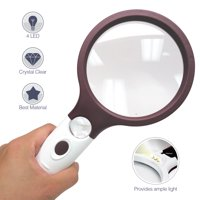 Jumbo Handheld 4X Magnifying Glass with 4 Ultra Bright LED Lights & 25X Zoom Lens, [Upgraded] Adjustable Brightness Level Illunimated Magnifier for Reading Small Prints, Aging Eyes Seniors & Hobbies