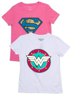 Supergirl and Wonder Woman Metallic Logo Graphic T-Shirts, 2-Pack Set (Little Girls & Big Girls)