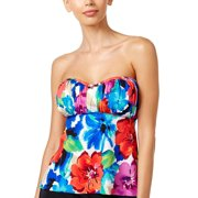 bfb92d5b001 Swim Solutions Womens Sedona Floral Print Bandeau Tankini Top 8 Multi  Swimsuit