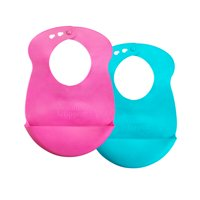 Tommee Tippee Easi-Roll Baby Bib, 7+ months - Pink and Teal, 2 Count