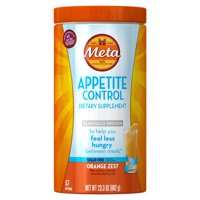 Metamucil Appetite Control Psyllium Fiber Sugar-Free Supplement, Orange Zest Flavored, 57 Servings