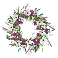 Wildflowers and Twigs Summer and Spring Floral Wreath for Front Door or Indoor, Purple and White