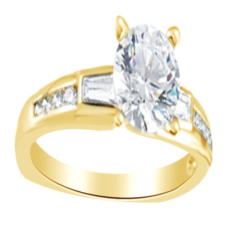 Round & Baguette White Diamond Solitaire Engagement Ring 14K Solid Yellow Gold (0.2 Cttw)