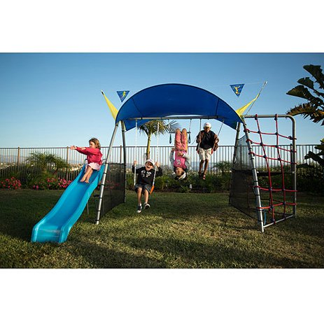 IRONKIDS Inspiration 300 Refreshing Mist Swing Set with Rope Climb, Expanded UV Protective Sunshade