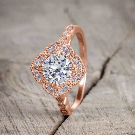 Antique Vintage 2 Carat Moissanite and Diamond Halo Wedding Ring Set for Women in Rose Gold Antique Vintage Wedding Bands