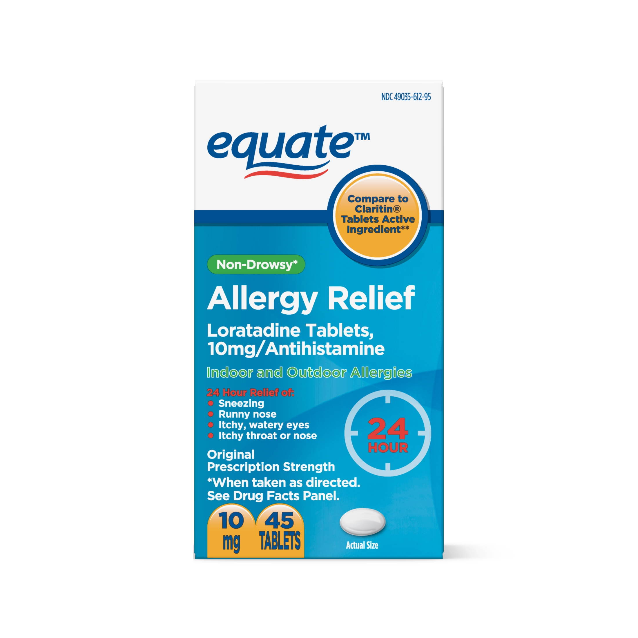 Equate Loratadine Non-Drowsy Allergy Relief Tablets (45 Ct