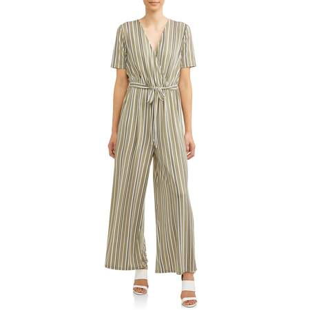Women's Surplice Wide Leg Jumpsuit](1970s Jumpsuit)