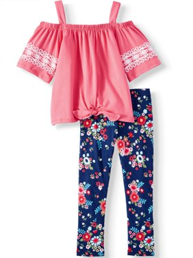 Tie Front Cold Shoulder Tunic and Floral Legging, 2-Piece Outfit Set (Little Girls & Big Girls)