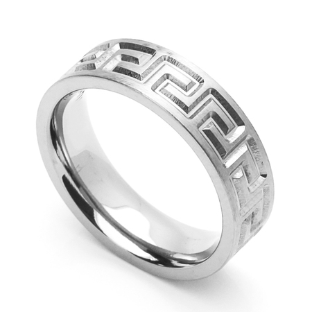 Men Women 6MM Comfort Fit Stainless Steel Wedding Band Greek Key Ring (Size 6 to 14)