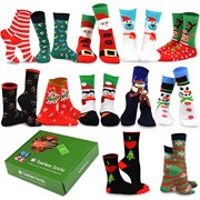 TeeHee Christmas 12-Pack Cotton Socks, Great Value Gift Box for Kids (12-24 Months, Christmas)