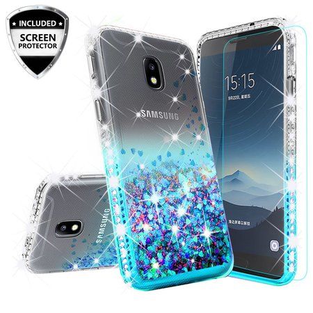 - Cute Liquid Glitter Bling Diamond Bumper Phone Case for Samsung Galaxy J7 Crown Case,J7 Star Case,J7v 2nd Gen,J7 2018,J7 Refine Case w/Tempered Glass - Teal/Clear