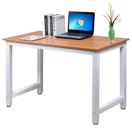 Yaheetech Modern Simple Design Home Office Desk Computer Table Wood Desktop Metal Frame Study Writing Desk - At Work Office Furniture