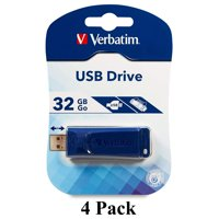 4 Pack Verbatim 32GB USB 2.0 Stick Pen Thumb Flash Drive - Blue - 098657-806