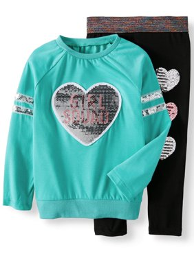 Little Girls' Girl Squad Sequin Tunic and Leggings, 2-Piece Outfit Set