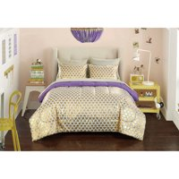 your zone gold hearts bed in a bag bedding set