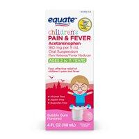 Equate Childrens Acetaminophen Bubblegum Suspension, 160 mg, 4 Oz