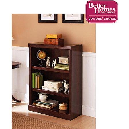 (Set of 2) Better Homes & Gardens Ashwood Road 3 Shelf Bookcase, Cherry Finish