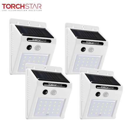 TORCHSTAR 20LED Solar Motion Lights, Wireless Outdoor Solar Lights for Garden, Patio, Deck, Yard, White, Pack of 4