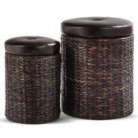 Gymax 2-Piece Foot Rest Hassocks Rattan Stools Leather Ottoman Seating Storage Stools
