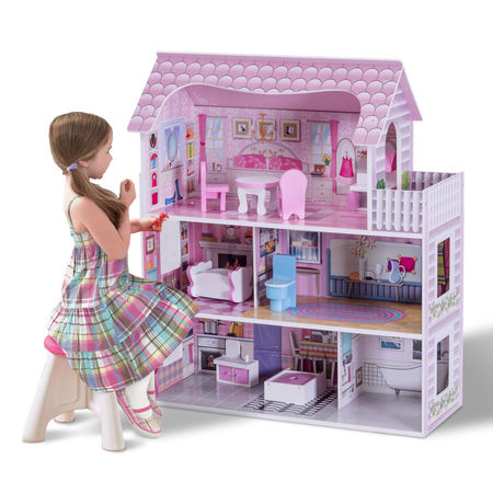 Gymax 28'' Pink Dollhouse w/ Furniture Gliding Elevator Rooms 3 Levels Young Girls - Elevator Toy