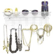 Sorbus 13-Hook Jewelry Organizer Holder & Wall Mounted Storage Rack Shelf