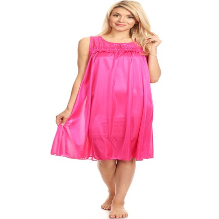 9047 Women Nightgown Sleepwear Pajamas Woman Sleep Dress Nightshirt Fuchsia