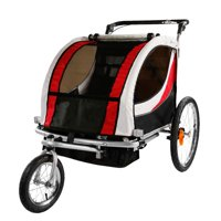 Clevr Red 2 Seat 3-in-1 Baby Kids Child Stroller Jogger Bike Trailer Bicycle Collapsible Running Cart