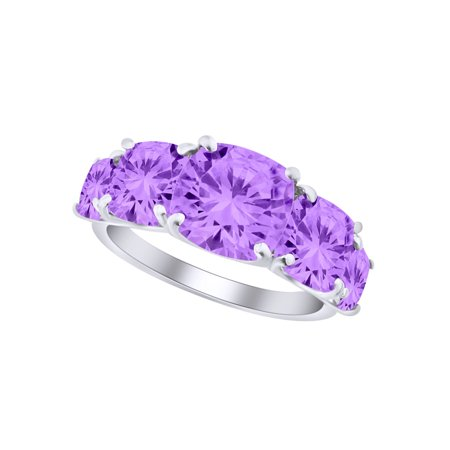 Cushion Shape Simulated Amethyst Five Stone Engagement Wedding Ring In 10k Solid White Gold Ring Size-8.5