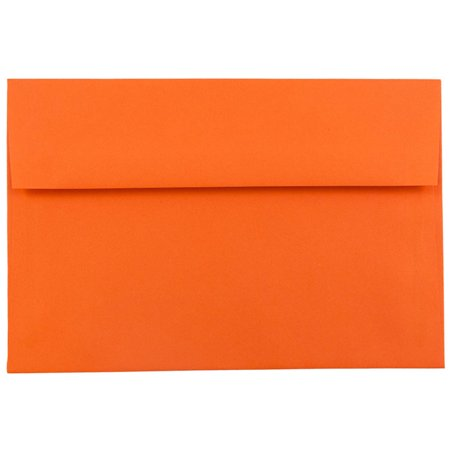 JAM Paper A7 Invitation Envelopes, 5 1/4 x 7 1/4 Recycled, Brite Hue Orange, 25/pack