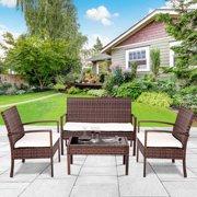 Gymax 4 PC Rattan Patio Furniture Set Garden Lawn Sofa Cushioned Seat Wicker Sofa