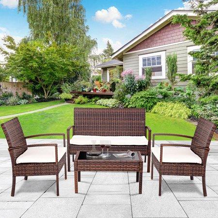 Gymax 4 PC Rattan Patio Furniture Set Garden Lawn Sofa Cushioned Seat Wicker Sofa ()