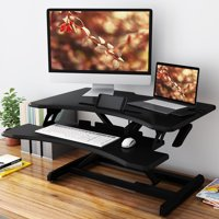 Height Adjustable Standing Desk, SLYPNOS 30'' Sit Stand Desk Converter Computer Workstation with Removable Keyboard and Mouse Deck for Home and Office, Fits 2 Monitors (Black)
