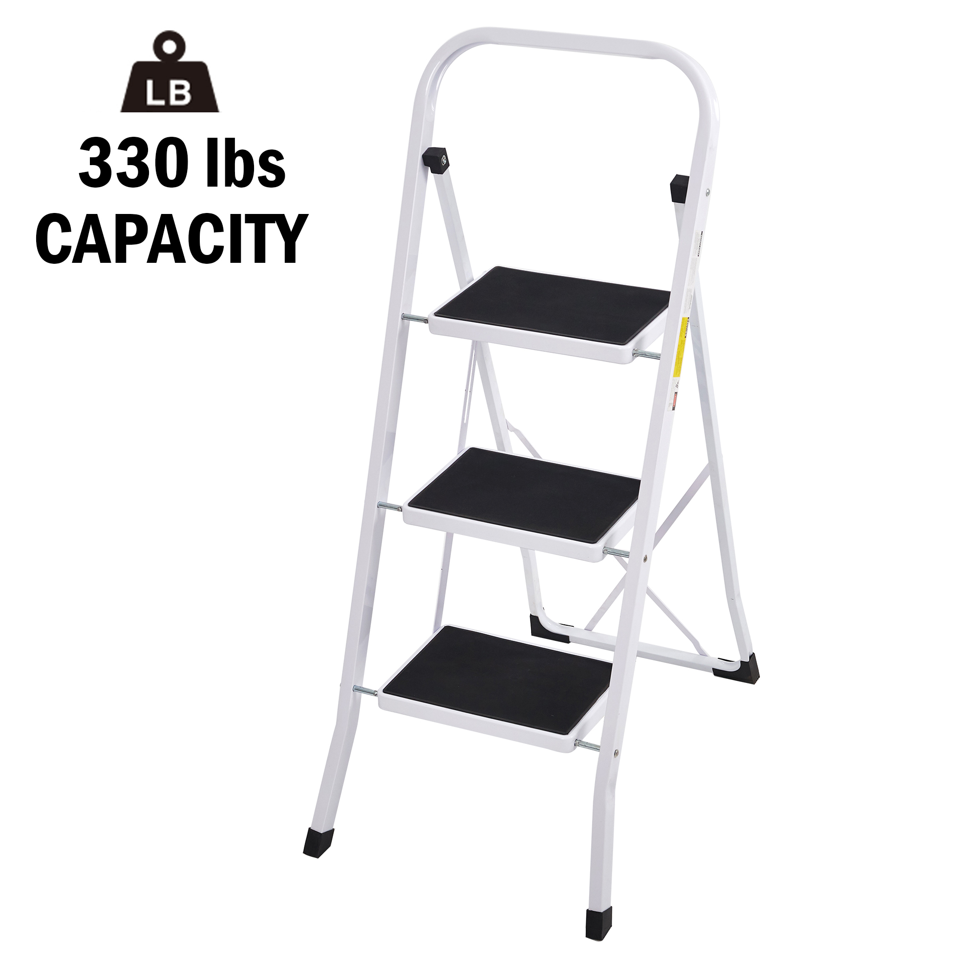 CharaHome 4 Step Ladder Step Stool Folding Portable Ladder Steel Frame with Safety Side Handrails Non-Slip Wide Pedal Kitchen and Home Stepladder with Attachable Tool Bag 450 lb Capacity