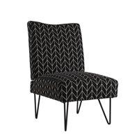 Mainstays Upholstered Hairpin Slipper Chair, Black Chevron