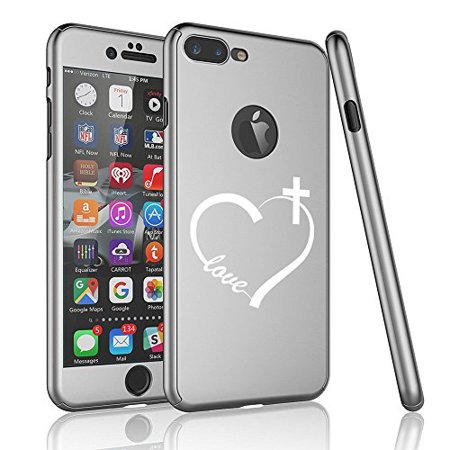 For Apple iPhone 360° Full Body Thin Slim Hard Case Cover + Tempered Glass Screen Protector Love Heart Cross Christian (Silver For iPhone 6 / 6s)