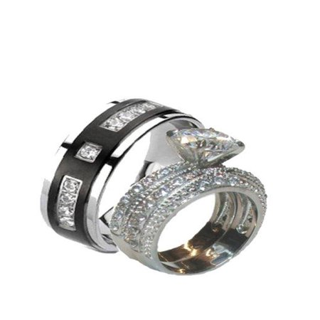 His Hers 3.20 Ct Cz Wedding Ring Set Stainless Steel & Black Plated Titanium Black Cubic Zirconia Set