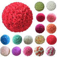 Girl12Queen 8 Inch Wedding Artificial Rose Silk Flower Ball Hanging Decoration Centerpiece