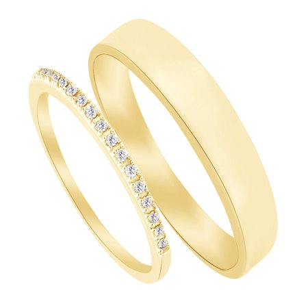 Round Cut White Natural Diamond His and Hers Wedding Band Set in 14K Yellow Gold (0.1 Cttw)