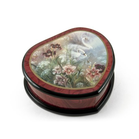 Elegant Heart Shape Painted Ercolano Music Jewelry Box Titled - Swan and Daylilies by Lena Liu ()