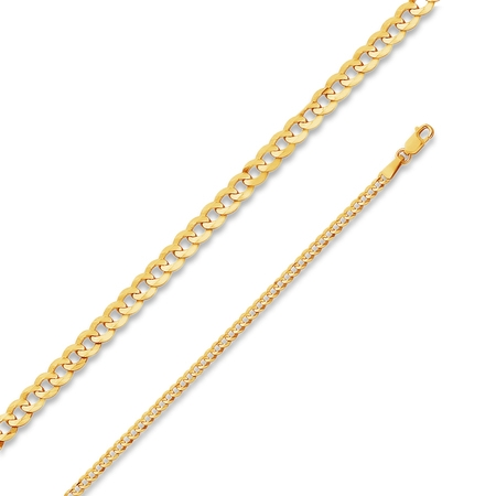 14k Yellow Gold Solid 2.7mm Cuban Concaved Curb Chain Necklace with Secure Lobster Claw Clasp 20""