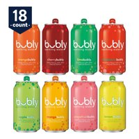 bubly Sparkling Water, Original Sampler, 12 oz Cans, 18 Count