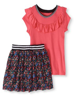 Ruffle Top and Floral Printed Lace Skooter 2-Piece Set (Little Girls & Big Girls)