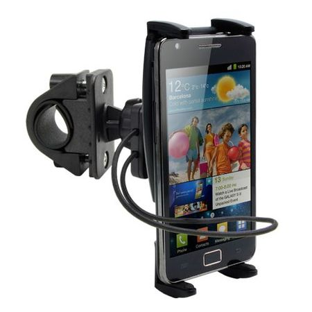 Premium Bike Mount and Motorcycle Cell Phone {Universal} Holder Mount for Polaroid Flip / Selfie w/Swivel Cradle and Safety Bungee Strap
