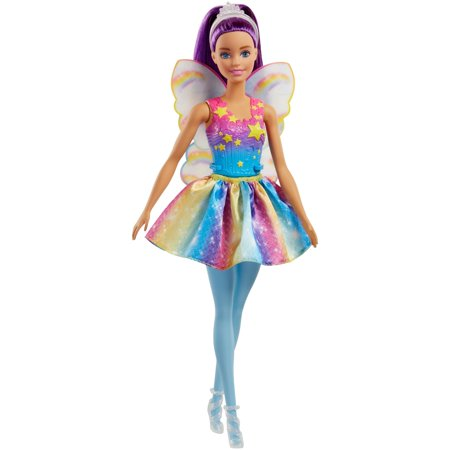 Pocket Fairy Doll (Barbie Dreamtopia Fairy Doll with Purple Hair & Rainbow Wings )
