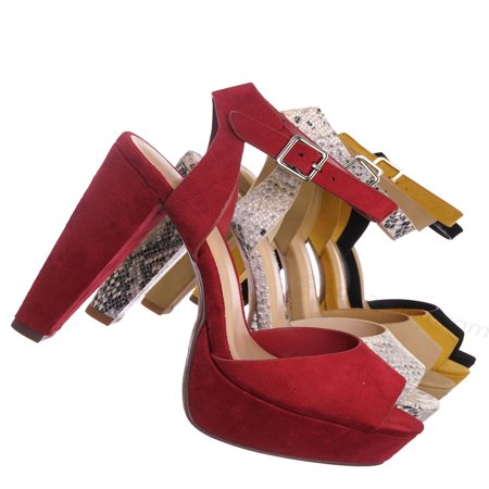 High Heel Open Platform (Purify by Speed Limit 98, High Block Heel Platform Sandal - Women Ankle Strap Open Toe Dress Shoes )